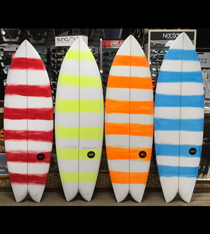 Four Candy Cane Keel Fish Surfboards